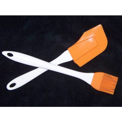 Spatula and Basting/Pastry Brush Set - Silicone Rubber
