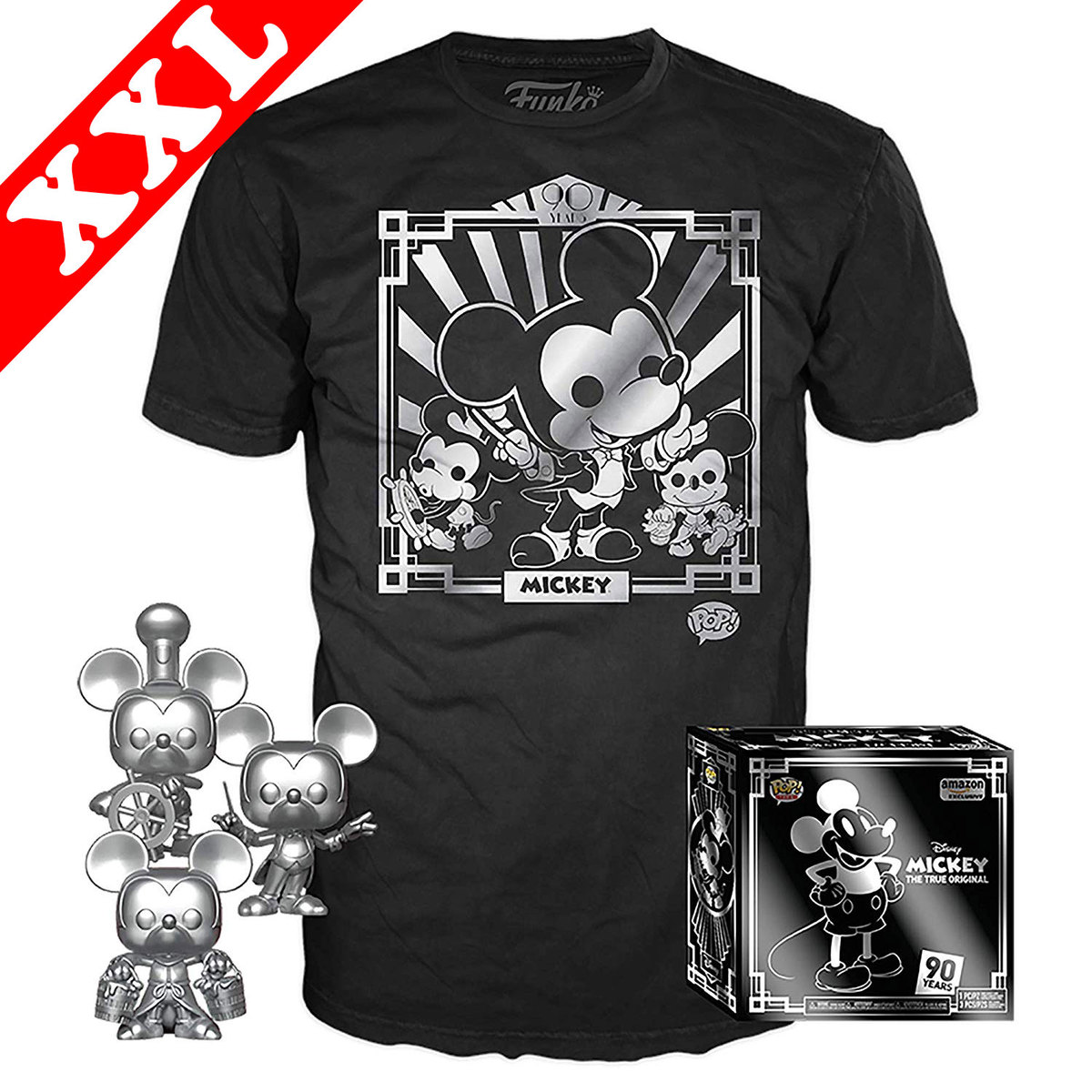 ddf47537 Collectors Box: Mickey Mouse 90 Years 3 Pack POP! & T-Shirt Set - Exclusive  Import - New, Mint [Size: XXL]