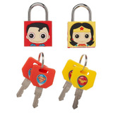 Bioworld Rubberised Brass Padlocks Set of 2 - Superman and Wonder Woman - New