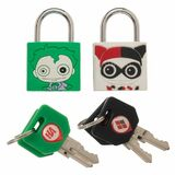 Bioworld Rubberised Brass Padlocks Set of 2 - The Joker And Harley Quinn - New