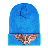 DC Comics Licensed Wonder Woman Sequin Logos Beanie Hat - New