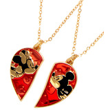 Disney Mickey Mouse & Minnie Mouse Kiss - Best Friend Necklace Set - New