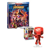 Marvel Avengers: Infinity War Bundle (Blu-Ray Movie + Exclusive Funko POP! #285 Red Chrome Iron Man) - Imported, New, Mint Condition