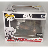 Funko POP! Deluxe Star Wars #234 Scout Trooper With Speeder Bike - Smugglers Bounty Exclusive - New, Box Damaged