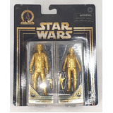 "Star Wars Skywalker Saga Commemorative Edition Gold 3.75"" Hasbro Action Figure 2 Pack Han And Leia - New, Box Damage"