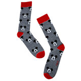 Disney Mickey Mouse 90 Years Striped Face Crew Socks - One Size Fits Most - New