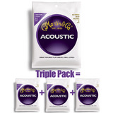 Martin Guitar Strings Acoustic Custom Light M175 (3 Sets)