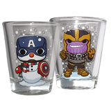 Marvel Shot Glasses - Collector Corps Exclusive - Captain America Snowman & Holiday Thanos - New, Sealed