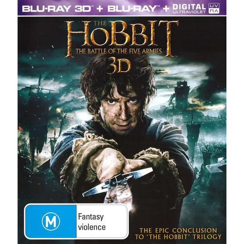 THE HOBBIT 3: Battle of the Five Armies : Blu-Ray 3D + 2D + UV Digital : NEW SEALED